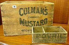 ORIGINAL COLMANS MUSTARDS PACKING CRATE AND BOVRIL