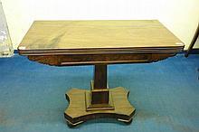 EARLY VICTORIAN MAHOGANY FOLD-OVER TOP TEA TABLE