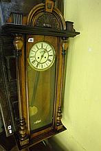 19TH CENTURY WALNUT CASED VIENNA TYPE TWIN WEIGHT
