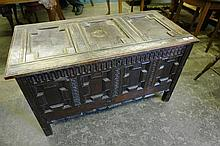 OAK THREE PANEL COFFER WITH GEOMETRIC MOULDED