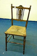LATE VICTORIAN RUSH SEATED BEDROOM CHAIR