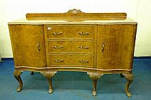 20TH CENTURY BURR WALNUT SERPENTINE SIDEBOARD WITH