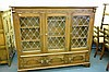 OAK REPRODUCTION THREE DOOR LEAD GLAZED CABINET