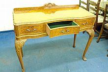 20TH CENTURY BURR WALNUT SERPENTINE SIDE TABLE