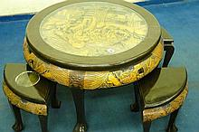 CHINESE CARVED TOP CIRCULAR TABLE WITH A NEST OF