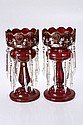 A pair of Victorian ruby glass table lustres, each