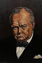 Michael J*** Wood, Portrait of Sir Winston Churchill, signed lower left, oil on canvas board, framed. 54.5cm by 44.5cm