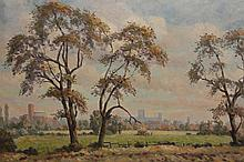 G*** Vickers, View of York, signed and dated (19)62 lower right, oil on canvas board, in an Art Nouveau inspired frame. 49.5cm by 74.5cm