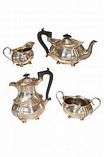 An Edward VIII silver four piece tea service, J. Gloster Ltd, Birmingham 1946, comprising teapot, hot water pot, cream jug and two handled sugar bowl. Gross 48.9oz