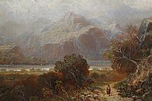 English School (19th Century), Figure on a Lakeland path, signed lower left, oil on card, framed. 27cm by 44.5cm