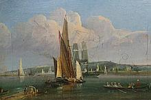 European School (19th Century), Boating on the river, unsigned, oil on canvas, framed. 27cm by 41.5cm