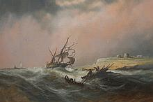 English School (19th/20th Century), Shipping off the Northumberland coast, indistinctly signed and dated, oil, framed under glass. 49.5cm by 74.5cm