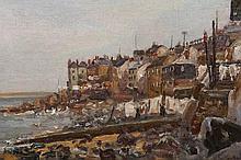 Walter Francis Scott Hetherington (1867-1943), Yorkshire fishing village, signed lower right, oil on canvas board, framed. 24cm by 34.5cm