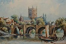 Cyril Hardy (1889-1951), Boats on a river, a Cathedral beyond, signed lower left, watercolour, framed. 19.5cm by 29.5cm