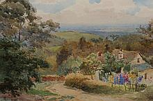 Albert George Stevens (1863-1925), Cottage in an extensive landscape, signed lower left, watercolour, framed. 26cm by 35.5cm