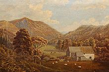 English School (19th Century), Lakeland landscape with cattle and sheep grazing, unsigned, oil on canvas, framed. 30.5cm by 42.5cm