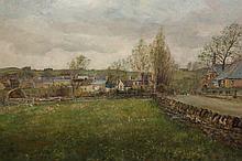 John Falconar Slater (1857-1937), North East village scene, signed lower right, oil on board, framed. 59cm by 89.5cm