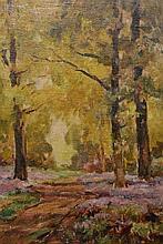 Owen Bowen (1873-1967), The Bluebell wood, signed lower left, oil on canvas board, framed. 35cm by 24.5cm
