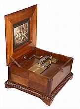 A walnut, rosewood and floral marquetry table top disc player, signed Polyphon, c. 1890, the underside of the hinged cover with a print of musical putti, the double comb movement playing 39.5cm (15½
