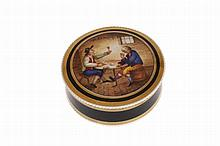 A fine Staffordshire pomade or toilet pot, possibly Spode, the cover painted with a scene of card players seated at a table in a tavern on a gilt banded black enamelled ground with white beaded rims, the box underside also black and gilt and the