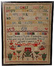 A Victorian needlework sampler, Sarah Clemitson Little, aged 11 years, 1879, Laversdale School. 40.5cm by 31cm