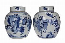A pair of Chinese blue and white ginger jars, of ovoid form, the vases and covers painted with figures. 20.5cm