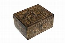 A Chinese export lacquer tea caddy, 19th Century, the hinged rectangular cover opening to reveal twin metal lined canisters, decorated to all visible areas with panels of figures. 10cm by 20.5cm by 16.5cm