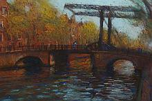 John Mackie (b.1955), Bridge over a river, signed and dated (19)95 lower right, pastel, framed. 37cm by 57.5cm