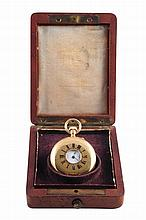 A Swiss lady's half hunter pocket watch, signed Henry Capt, Geneve, no. 39622, the signed white enamel dial with Roman numerals, Arabic minute divisions and subsidiary seconds, the cuvette signed and numbered, the movement signed and numbered, in a