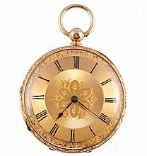 An English 18 carat gold open face fusee pocket watch, signed Wm Edwards, 44 New Street, Birmingham, no. 28964, the dial with Roman numerals, foliate engraved centre and blued steel hands, all within an outer border of leaves and dot minute markers,