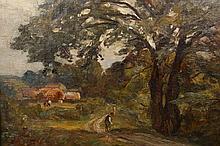 William Greaves (1852-1938), At Grimbold, Knaresborough, signed lower left, oil on canvas board, in a gilt composition frame. 21cm by 28.5cm