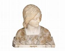 Professor Giuseppe Bessi (Italian, 1857-1922), Juliette, a marble and alabaster bust, her dress in contrasting alabaster, signed to reverse of bust, the base titled. 37.5cm