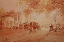 John Haley, London street scene with horse and carriages, signed and indistinctly dated, watercolour, framed. 14.5cm by 23.5cm