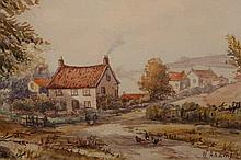 W*** Adams, Wykeham, signed and titled lower right, watercolour, framed. 18cm by 36.5cm