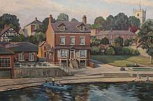 Walter Cecil Horsnell (b.1911), Boathouse, Waterside, Knaresborough, signed lower right, oil on canvas board, framed. 49.5cm by 74.5cm