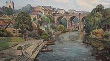 Walter Cecil Horsnell (b.1911),  Viaduct, Knaresborough, from the High Bridge, signed lower right, artist's label verso, oil on canvas, framed. 49.5cm by 90cm