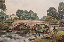 Walter Cecil Horsnell (b.1911), High Bridge, Knaresborough, signed lower left, oil on canvas board, framed. 49.5cm by 74.5cm