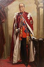 Nestor Cambier (1879-1957), Portrait of General Sir Douglas Dawson, full length, in uniform for the Order of the Garter, signed lower left, oil on board, framed. 61.5cm by 45cm