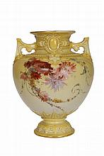 A Royal Worcester vase, painted with floral sprays against a shaded yellow ground, no. 1631, date code for 1894, puce printed factory mark. 23cm