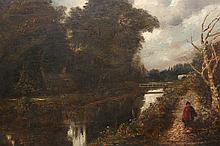 English School (18th/19th Century), Woman walking with a basket by a towpath and trees, unsigned, oil on canvas, framed. 39.5cm by 54.5cm
