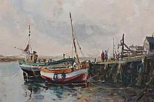 Jack Cox (1914-2007), Moored boats, signed lower right, watercolour, framed. 24cm by 31.5cm
