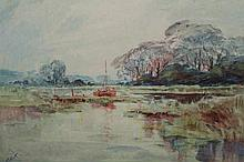 Jack Cox (1914-2007), On the Broads, signed lower left, watercolour, framed. 24.5cm by 32cm