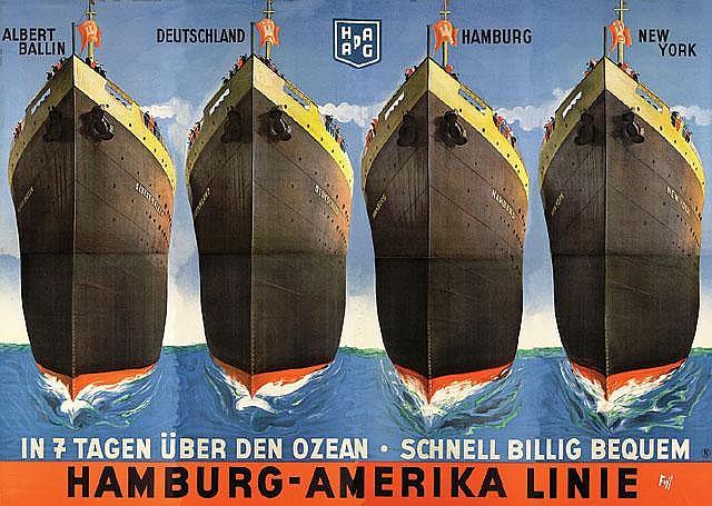 Albert Fuss HAPAG - In 7 Tagen über den Ozean Poster / Plakat