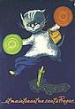 Original 1950s Czech Travel Poster Prague Cat