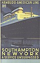 Original 1930s HAPAG Southhampton New York Poster