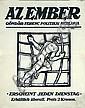 Original 1910s MIHALY BIRO POster Az-Ember Magazine