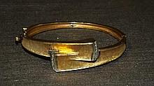 14 kt Yellow Gold and Diamond Hinged Bangle
