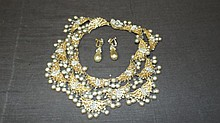 Miriam Haskell Necklace & Earpendants.