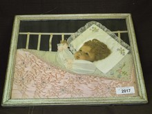 Victorian Era Wall Hanging, Baby in Crib