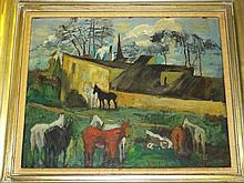 harles Augustus Mager  (1878 - 1956) Oil Board.